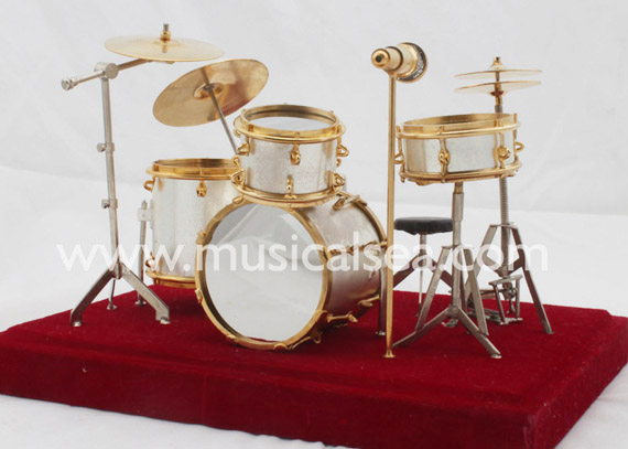 Silver Miniature Drum Set Ornament Musical Instrument Gift
