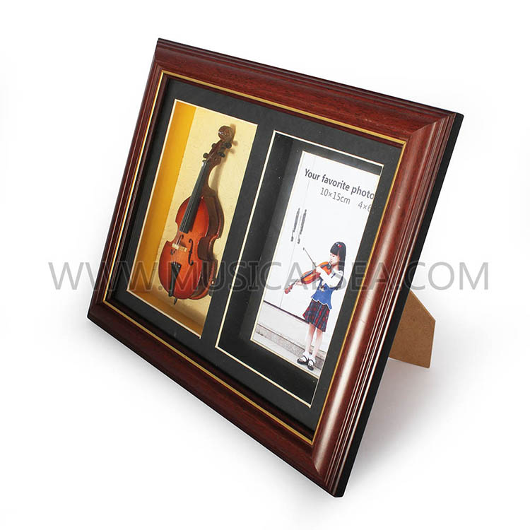 Photo frame with mini violin and decorative p
