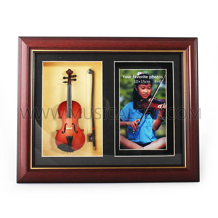 Custom picture frame with mini violin photo f