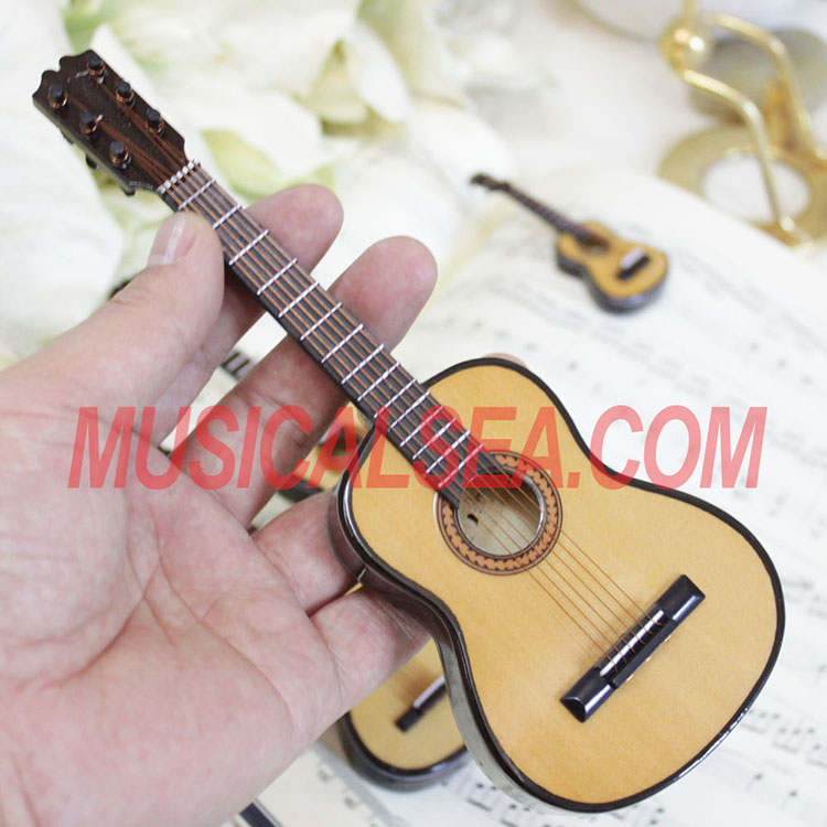 Miniature guitar replica for wooden ornament