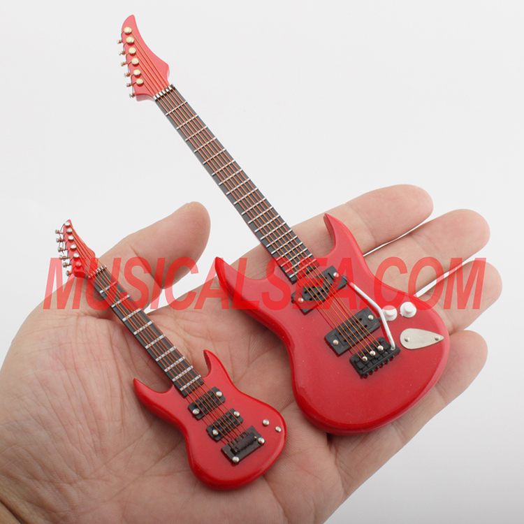 Miniature red guitar wooden craft gift for de