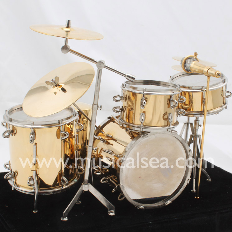 Miniature musical instrument 5pcs Golden drums per set