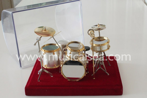 Miniature musical instrument 5pcs silver drums per set