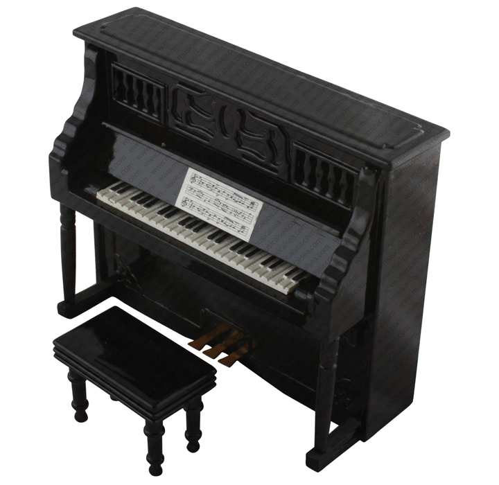 Miniature wooden upright piano model handmade