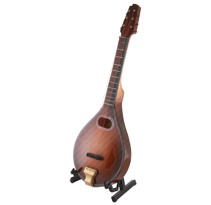 Miniature Brown Mandolin W/Case & Stand Musical Instrument Replica Gift