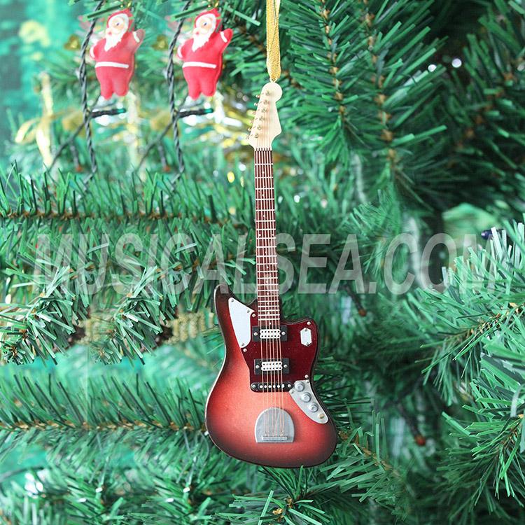 "Miniature 3/"" Mini Black Electric Guitar Tree Ornament"